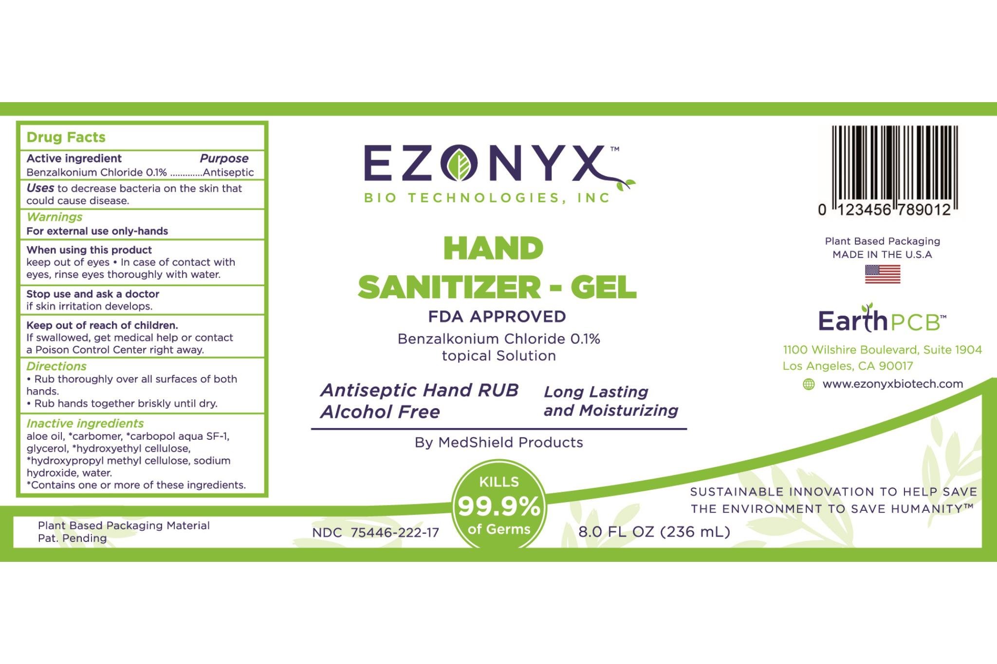 EZONYX Hand Sanitizer Gel (Alcohol Free)